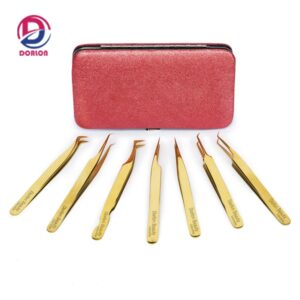 24k Gold Plated 3D 5D 6D Volume Eyelash Extension Tweezers Set