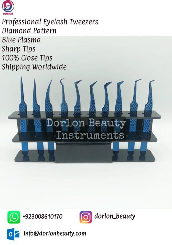Blue Plasma Non Slip Series Diamond Eyelash Tweezers