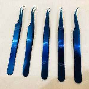 Blue Titanium Eyelash Tweezers Set