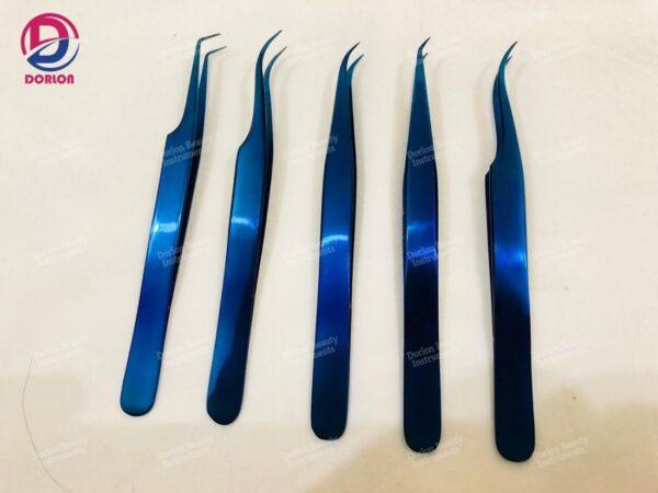 Blue Titanium Eyelash Tweezers Set