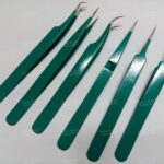 Colored Eyelash Tweezers With Silver Tips