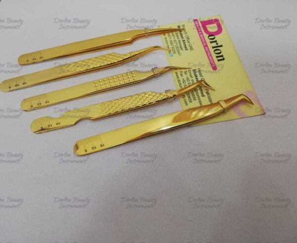 Japanese Stainless Steel Gold Plated Eyelash Tweezers With Millimetres Logo