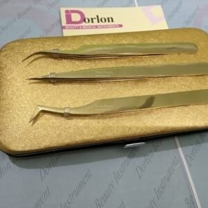 Long Lasting Gold Plasma Eyelash Tweezers With Golden Organizing Case