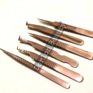 Top Rated Rose Gold Diamond Pattern Eyelash Tweezers