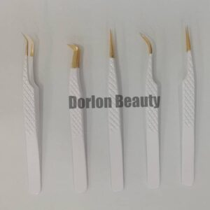 White Pearl Diamond Eyelash Tweezers Set